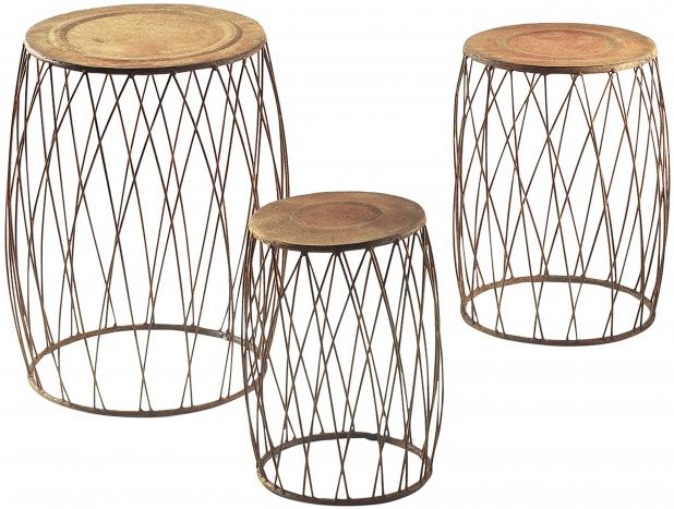 pflanzenst nder rund metall rost s 3 produkte locker. Black Bedroom Furniture Sets. Home Design Ideas